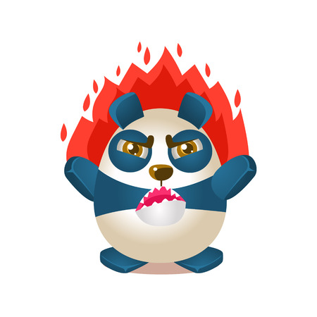 Cute Panda Activity Illustration With Humanized Cartoon Bear Character On Fire With Anger. Funny Animal In Fantastic Situation Vector Emoji Drawing. Illustration