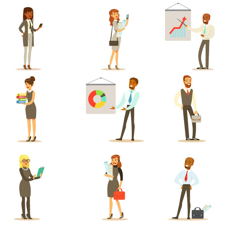 Business, Finance And Office Employees In Suits Busy At Work Set Of Smiling Cartoon Businessman And Businesswoman Characters Illustrations
