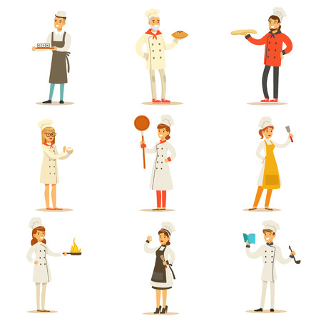 Professional Cooking Chefs Working In Restaurant Wearing Traditional White Uniform Set OF Cartoon Characters Illustration