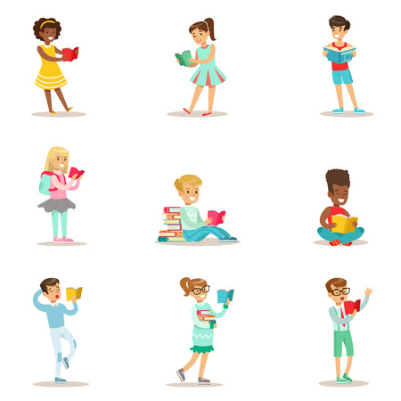 Children Who Love To Read Set Of Illustrations With Kids Enjoying Reading Books At Home And In The Library