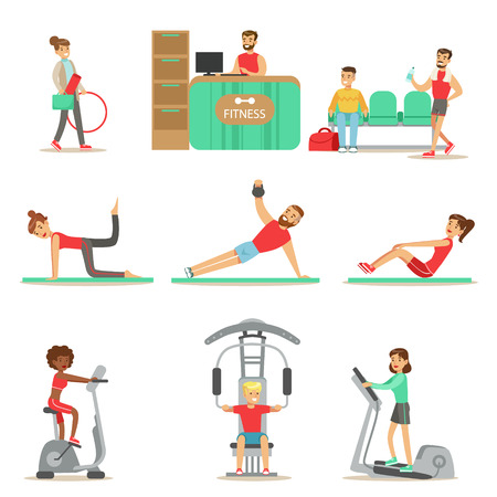 elliptic: People Member Of The Fitness Class Working Out, Exercising With And Without Sport Simulators, Training In Trendy Sportswear Illustration