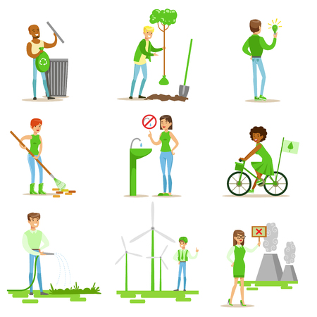 contributing: Men And Women Contributing Into Environment Preservation By Using Eco-Friendly Energy And Recycling Illustrations From People And Ecology Set Illustration