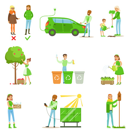 contributing: Men And Women Contributing Into Environment Preservation By Using Eco-Friendly Energy And Recycling Illustrations From People And Ecology