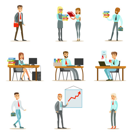 happy office: Happy Office Workers And Managers Working In The Office Space On Their Desks And Performing Other Tasks Set Of Illustrations