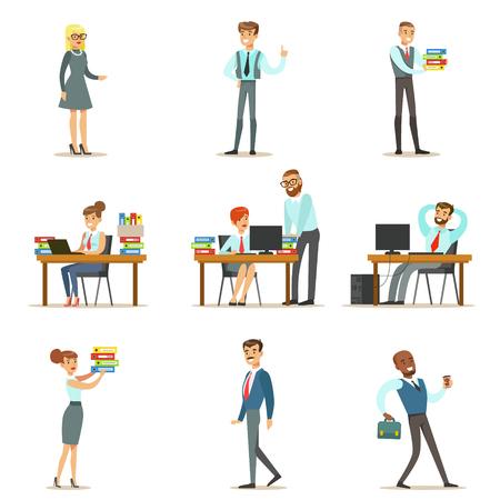 Arbeiten Happy Office Mitarbeiter und Führungskräfte im Büro auf ihren Schreibtischen und darstellende Andere Set Aufgaben Illustrationen Standard-Bild - 69093770