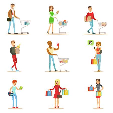 Gente de las compras en los grandes almacenes y el centro comercial Conjunto de personajes de dibujos animados La compra de los productos y objetos en el Shop Vectores