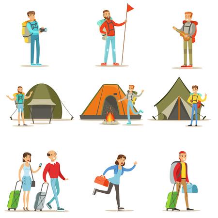 여행하는 행복한 사람들과 평평한 만화 관광객 캐릭터의 캠핑 여행 세트