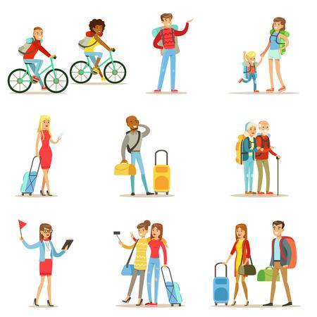 Gelukkige mensen die reizen en het hebben van Camping Trips Reeks vlakke Cartoon Toeristen Characters Stock Illustratie
