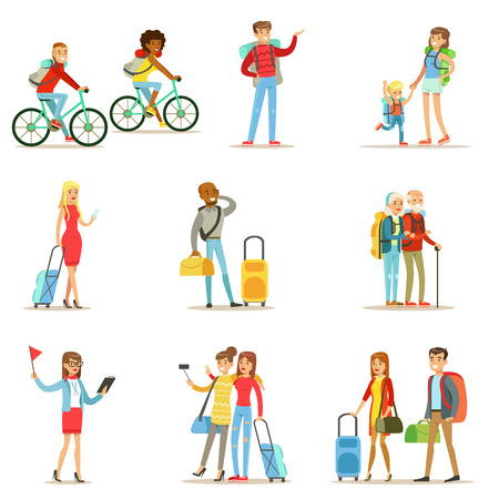 Happy People viajar y viajes de campamento Tener Conjunto De Los turistas plana personajes de dibujos animados