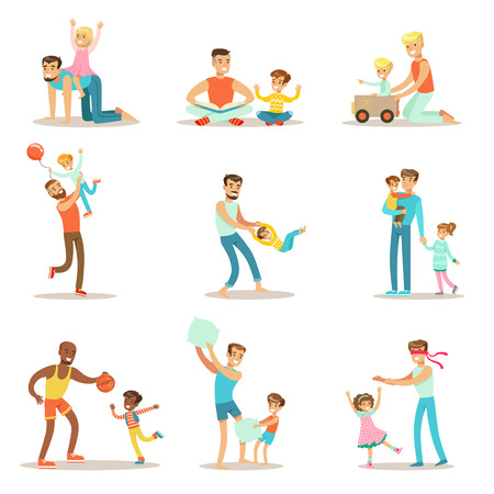 good quality: Loving Fathers Playing And Enjoying Good Quality Daddy Time With Their Happy Children Set Of Cartoon Illustrations