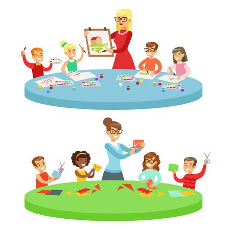 美術の授業で子供たち 2 つ漫画イラスト小学校の子供とクラフトと創造性のレッスンで描画彼らの力量