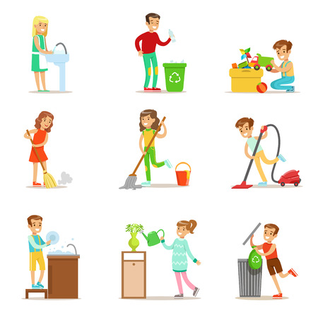 Children Helping With Home Cleanup, Washing The Floor, Throwing Out Garbage And Watering Plants