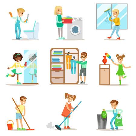 Les enfants aident à nettoyer la maison, laver le sol, jeter les ordures, laver les fenêtres et le miroir Banque d'images - 70360134