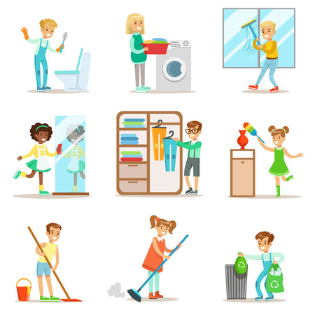 Los niños que ayudan en la limpieza del hogar, lavar el piso, tirar basura, lavar las ventanas Y Espejo Ilustración de vector