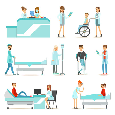 hospital gown: Injured And Sick Patients In The Hospital Receiving Medical Treatment From Professional Doctors And Nurses Illustration