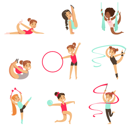 hulahoop: Little Girls Doing Gymnastics And Acrobatics Exercises In Class Set Of Future Sports Professionals