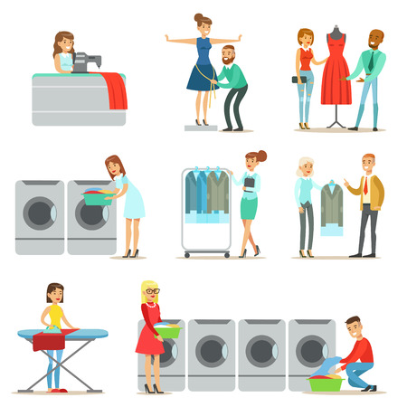 dry cleaner: People At The Laundry, Dry Cleaning And Tailoring Service Collection Of Smiling Cartoon Characters Illustration