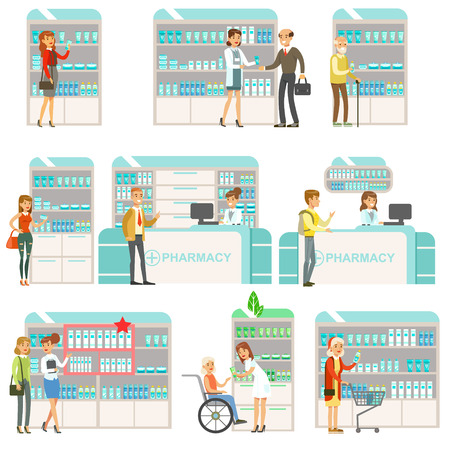 Smiling People In Pharmacy Choosing And Buying Drugs And Cosmetics Set Of Drugstore Scenes With Pharmacists And Clients Illustration