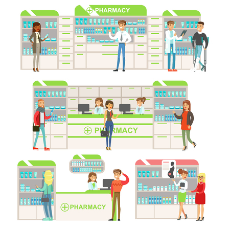 choosing: Smiling People In Pharmacy Choosing And Buying Drugs And Cosmetics Collection Of Drugstore Scenes With Pharmacists And Clients