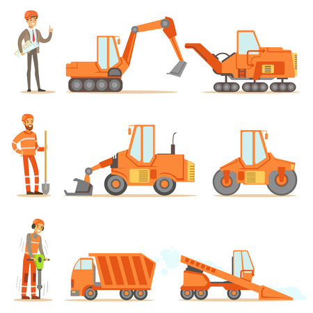 Smiling Road Construction And Repair Workers In Uniform And Heavy Trucks At Construction Site Set Of Cartoon Illustrations