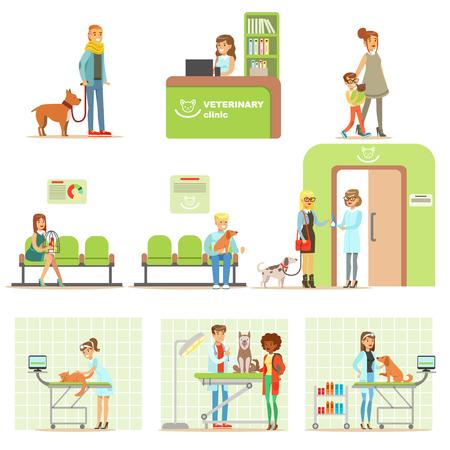 イラスト漫画文字獣医診療所の獣医検査のため自分のペットをもたらす笑顔セット  イラスト・ベクター素材