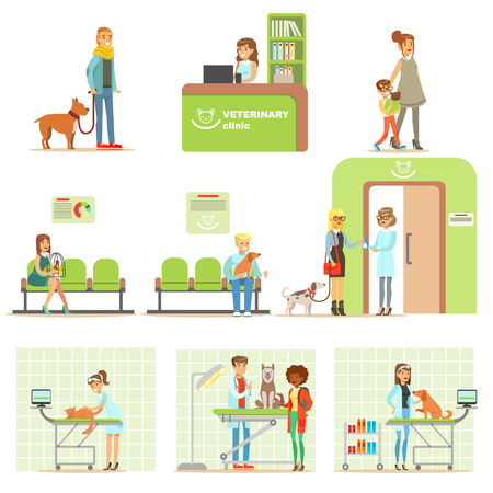 Smiling Cartoon Characters Bringing Their Pets For Vet Examination In Veterinary Clinic Set Of Illustrations