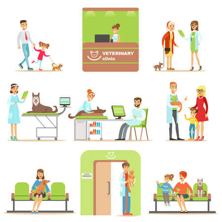 Smiling Cartoon Characters Bringing Their Pets For Vet Examination In Veterinary Clinic Collection Of Illustrations Reklamní fotografie - 70038357