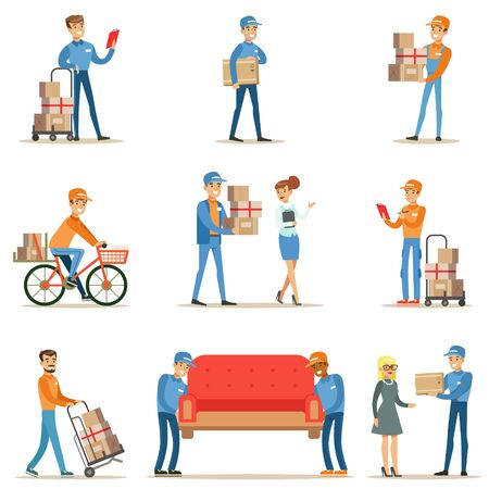 movers: Different Delivery Service Workers And Clients, Smiling Couriers Delivering Packages And Movers Bringing Furniture Set Of Illustrations Stock Photo
