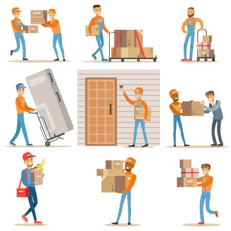 別の配信サービス労働者およびクライアントの笑顔宅配を提供する飲食店から郵便配達員イラストのパッケージ セットをもたらす装置