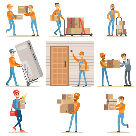 Different Delivery Service Workers And Clients, Smiling Couriers Delivering Food And Equipment From Shop And Mailmen Bringing Packages Set Of Illustrations Фото со стока