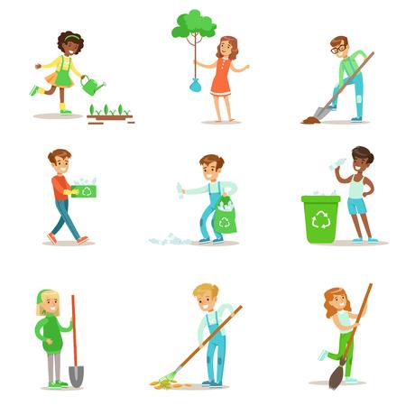 Kinderen Helpen In ecologisch tuinieren, het planten van bomen, Schoonmaken Buitenshuis, Recycling De Garbage en drenken Spruiten Vector Illustratie