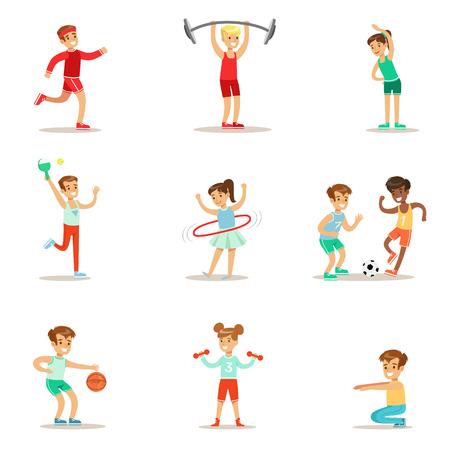 체육 교육 클래스 체육관 및 야외에서 다른 스포츠 및 물리적 활동을 연습하는 아이들. 어린이 축구, 탁구, 농구, 운동 운동. 일러스트