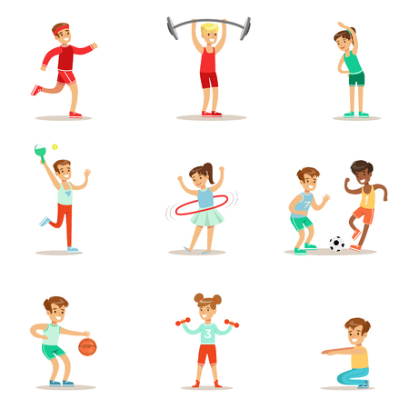 Kids Practicing Different Sports And Physical Activities In Physical Education Class Gym And Outdoors. Children Playing Football, Table Tennis, Basketball And Doing Athletic Exercises. Stock Illustratie