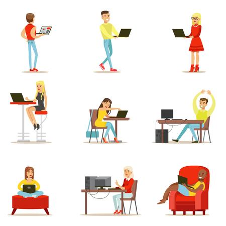 Gente felice che spende il loro tempo facendo uso dell'insieme del computer delle illustrazioni di vettore con gli uomini e le donne che usando tecnologia moderna Vettoriali