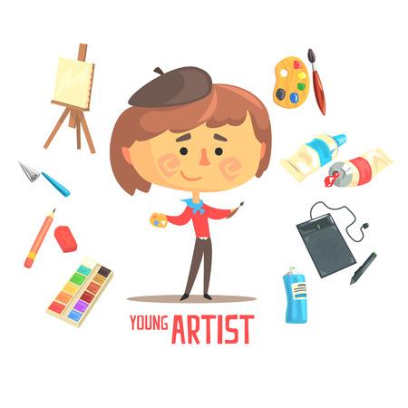 niño parado: Niño artista pintor, niños futuro sueño Ilustración ocupación profesional con objetos relacionados con la profesión