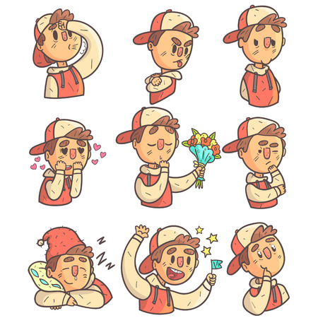 joking: Boy In Cap And College Jacket Collection Of Hand Drawn Emoticon Cool Outlined Portraits Illustration