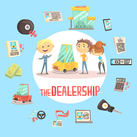 Car Dealership Firm Professional Dealer Selling The Vehicle To The Young Couple Illustration With Different Car Dealing Icons Around