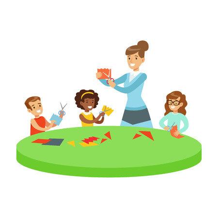 Three Children In Art Class Crafting Applique Cartoon Illustration With Elementary School Kids And Their Teacher In Creativity Lesson