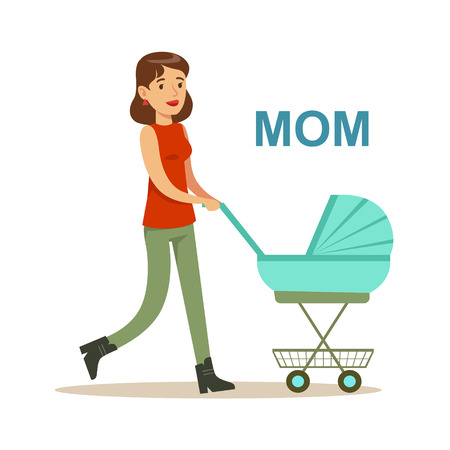 relatives: Young Mother Walking With Stroller Happy Family Having Good Time Together Illustration