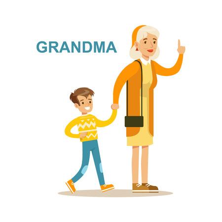 Grandma Walking With Grandson, Happy Family Having Good Time Together Illustration Illustration