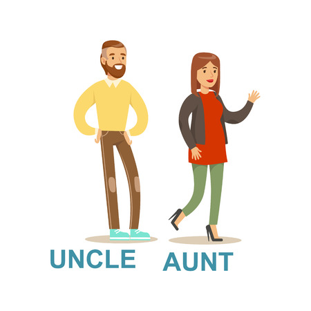 Uncle And Aunt, Happy Family Having Good Time Together Illustration Illustration
