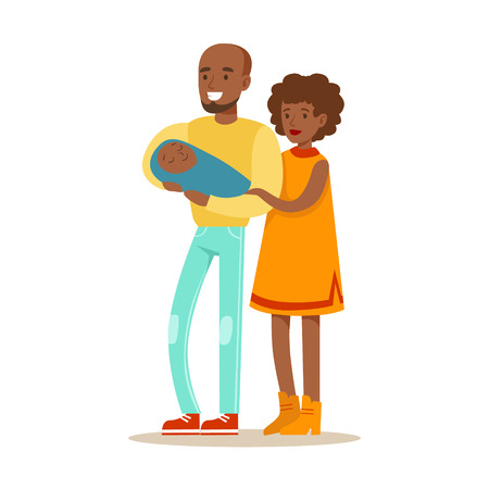 Young Parents Holding Baby, Happy Family Having Good Time Together Illustration