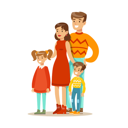 Mom, Dad And Children, Happy Family Having Good Time Together Illustration Ilustrace