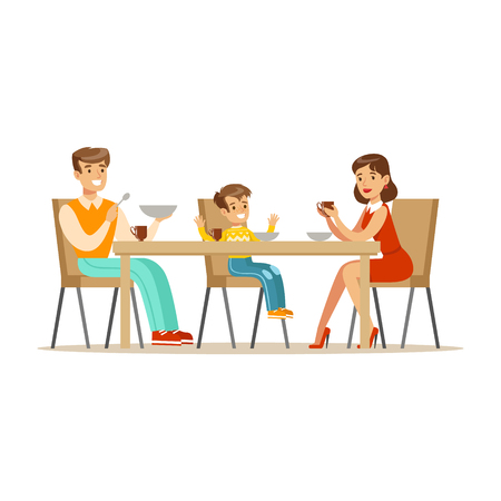 Mom, Dad And Son Having Breakfast , Happy Family Having Good Time Together Illustration Illustration