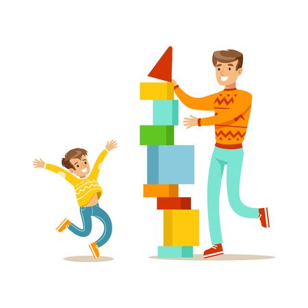 Vati und Sohn, die einen Turm mit Blöcken, glückliche Familie hat gute Zeit zusammen Illustration aufbauen