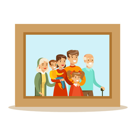 Happy Family Having Good Time Together Framed Photo Portrait Illustration 向量圖像