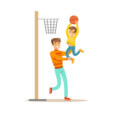 Father And Son Playing Basketball, Happy Family Having Good Time Together Illustration