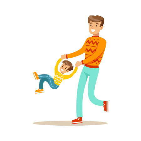 enjoying: Dad Swinging Son Holding His Hands, Happy Family Having Good Time Together Illustration