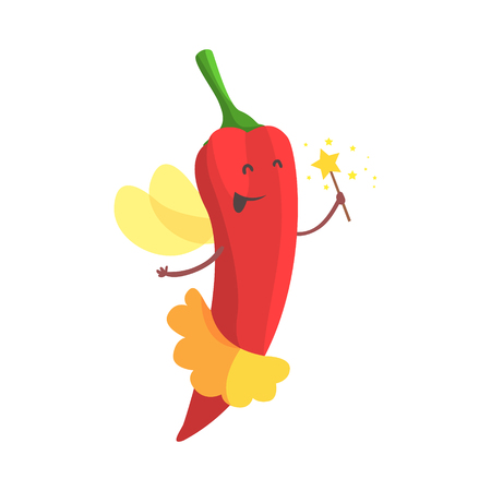 Chili Pepper Fairy In Skirt WIth Magic Wand, Part Of Vegetables In Fantasy Disguises Series Of Cartoon Silly Characters