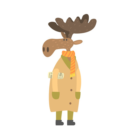 rolled newspaper: Moose In Long Coat With Newspaper Under Arm, Forest Animal Dressed In Human Clothes Smiling Cartoon Character